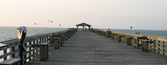 the fishing pier in the evening