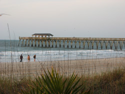 the fishing pier as seen from the state park's parking area