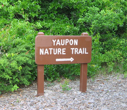 the Yaupon Trail trailhead sign